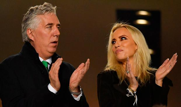 FAI Executive Vice President John Delaney and his partner Emma English in attendance during the UEFA EURO2020 Group D qualifying match between Republic of Ireland and Georgia at the Aviva Stadium, Lansdowne Road, in Dublin. Photo by Seb Daly/Sportsfile