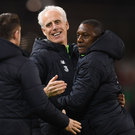 Republic of Ireland manager Mick McCarthy celebrates with assistant coaches Robbie Keane, left, and Terry Connor following the UEFA EURO2020 Group D qualifying match between Republic of Ireland and Georgia at the Aviva Stadium, Lansdowne Road, in Dublin. Photo by Stephen McCarthy/Sportsfile