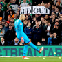 Net Gains: Darren Randolph kicks tennis balls off the pitch after a protest by some fans at the FAI executive vice-president John Delaney. Photo: PA