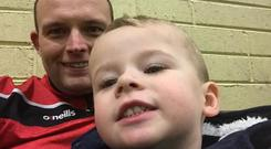 Paul Higgins with son Zac, who is now being treated in Temple Street Hospital, where he is described as 'serious but stable'