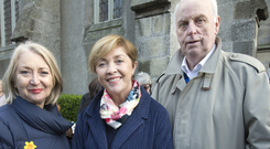 Bairbre Power, Cliodhna O'Donoghue and Donal Doherty at the funeral service of their former colleague Lorna Nelson Muir Kennedy, nee Reid, in Booterstown, Dublin. Photo: Tony Gavin