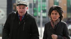 Trial: Patrick Quirke with wife Imelda outside court. Photo: Collins