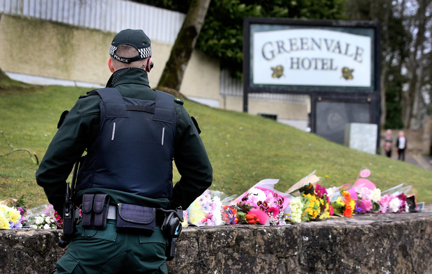 Floral tributes at the scene of the crush. Picture: Steve Humphreys