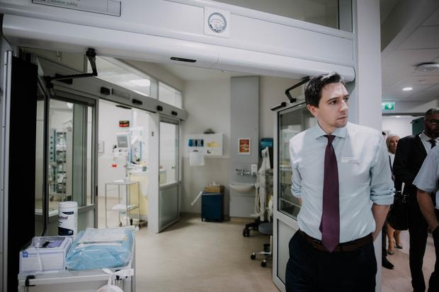 Pressure: Minister Simon Harris opens the Limerick A&E department in 2017 – 51 were on trolleys there yesterday. Picture: Brian Arthur