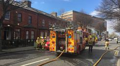 Firefighters at the scene on Dublin's north inner city. Photo: Damien Eagers