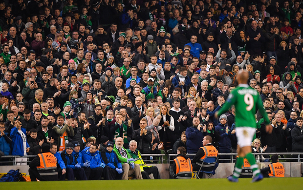 Republic of Ireland supporters appluad as David McGoldrick is substituted off during the UEFA EURO2020 Group D qualifying match between Republic of Ireland and Georgia at the Aviva Stadium, Lansdowne Road, in Dublin. Photo by Seb Daly/Sportsfile