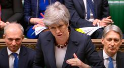 Prime Minister Theresa May speaks during Prime Minister's Questions in the House of Commons, London. Photo: House of Commons/PA Wire