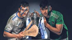 Waterford's Jamie Barron (L) and Limerick's Aaron Gillane at yesterday's preview day for the Allianz Hurling League final. Photo: Sportsfile