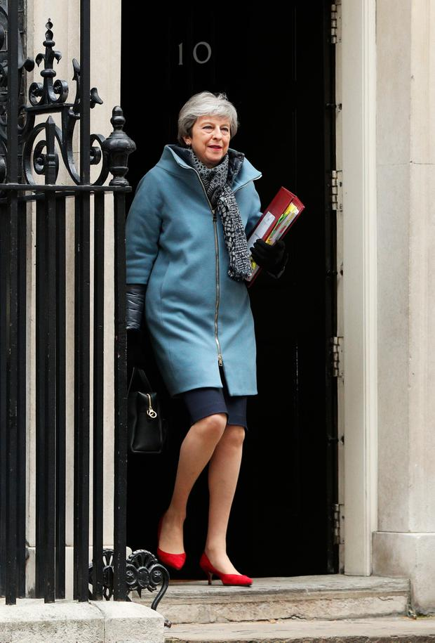 Last chance: Theresa May leaves 10 Downing Street yesterday. Picture: Getty