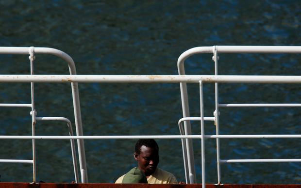A migrant is seen on the merchant ship Elhiblu 1, in Senglea, in Valletta's Grand Harbour, Malta, March 28, 2019. REUTERS/Darrin Zammit Lupi