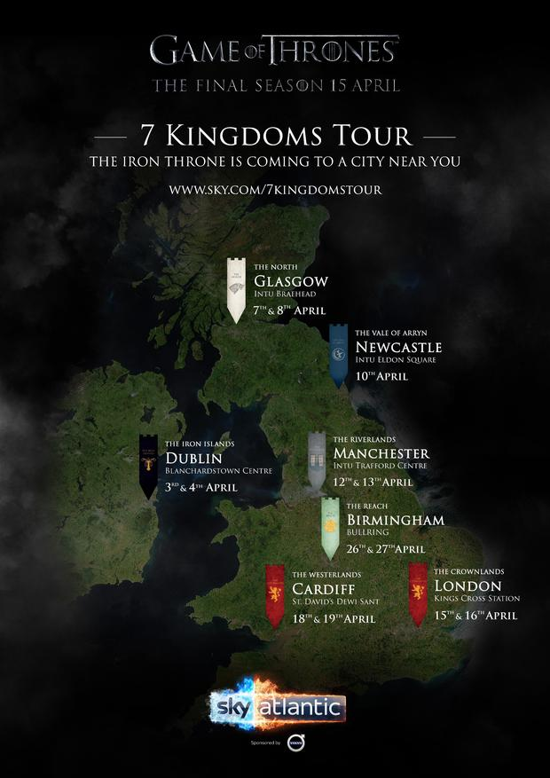 Game of Thrones' iconic Iron Throne will tour the UK and Ireland to celebrate the show's final season on Sky Atlantic next month.
