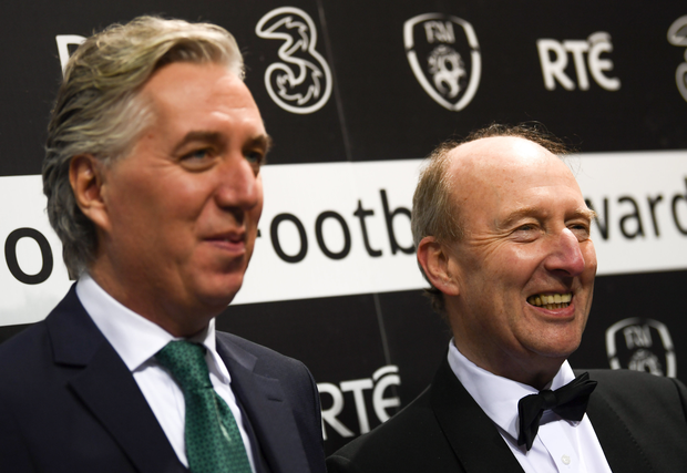 Former FAI Executive Vice President John Delaney, left, and Minister for Sport, Shane Ross. Photo by Stephen McCarthy/Sportsfile