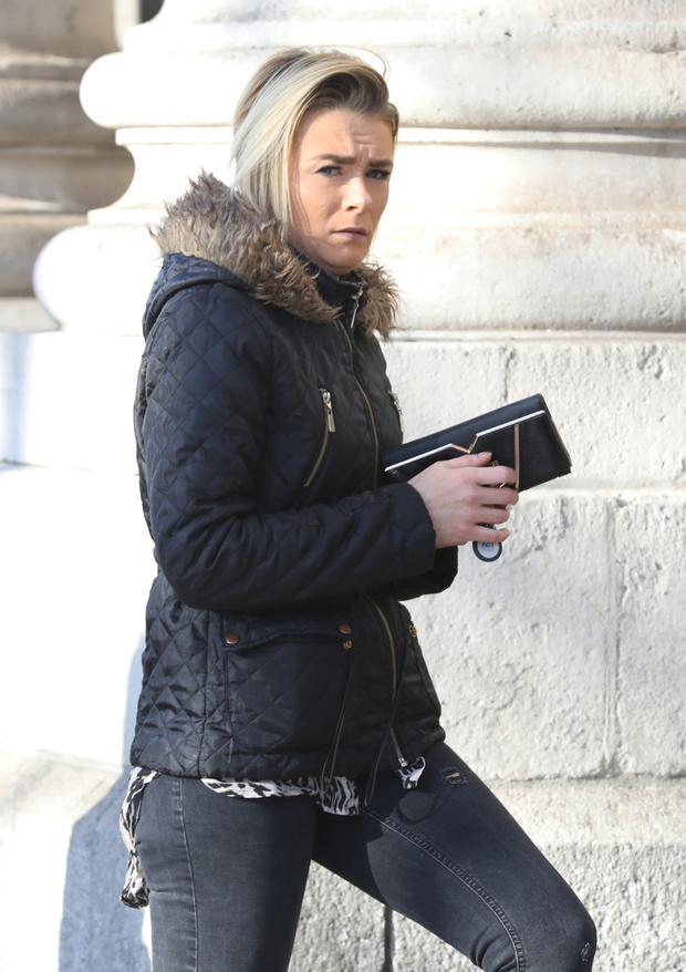 Nikita Somerville, of Peadar Kearney House, Railway Street, Dublin 1 pictured leaving the Four Courts after she appeared before the Dublin District Court.Pic: Collins Courts