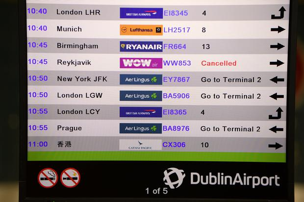 The collapse left thousands of Irish flyers booked on its route from Dublin to Reykjavik, and onwards to the United States, in limbo. Photo: Caroline Quinn