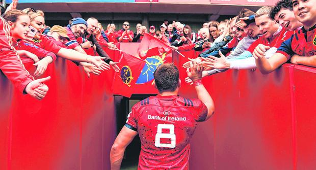 Red tide rising: CJ Stander acknowledges Munster supporters after the Champions Cup victory over Gloucester last October. Photo: Diarmuid Greene/Sportsfile