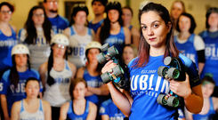 Threatened: Valentina Nicosia with members of the Dublin Roller Derby at Inchicore Community Sports Centre. Photo: Steve Humphreys