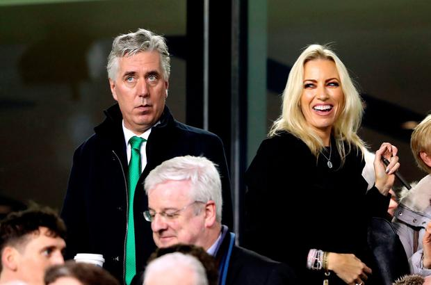 New role: John Delaney and Emma English in the crowd during the match against Georgia. Photo: PA