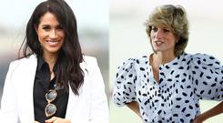 Meghan Markle, left, and Princess Diana, right