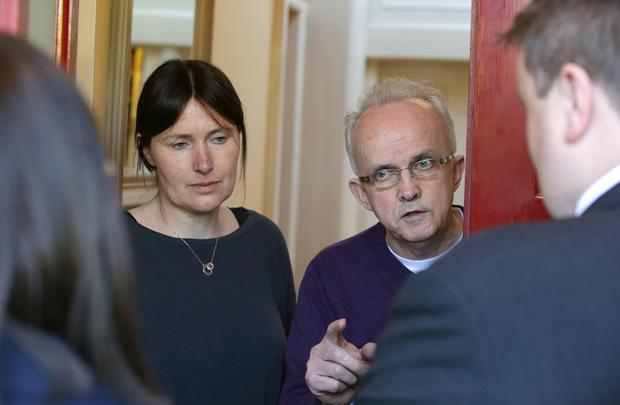 Ann Keane and Patrick Halpin, owners of Aberdeen Lodge in Dublin 4 speak to officials from Grant Thornton Photo; Damien Eagers / INM