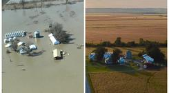 A combination of aerial photos show the farm of Richard Oswald near Langdon, Missouri after flooding March 20, 2019 and in the fall of 2018 at right. Courtesy of Richard Oswald/Handout via REUTERS. ATTENTION EDITORS - THIS IMAGE WAS PROVIDED BY A THIRD PARTY. NO SALES. NO ARCHIVES. THIS IMAGE WAS PROCESSED BY REUTERS TO ENHANCE QUALITY, AN UNPROCESSED VERSION HAS BEEN PROVIDED SEPARATELY.