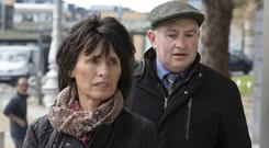 On trial: The accused Patrick Quirke (50) at court with his wife Imelda. Photo: Collins