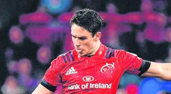 Joey Carbery is back comebacksfrom a hamstring injury in time to play in Munster's Heineken Champions Cup quarter-final with Edinburgh today. Photo: Brendan Moran/Sportsfile