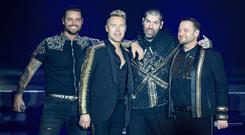 The full Boyzone line-up of Keith Duffy, Ronan Keating, Shane Lynch and Mikey Graham. Photo: Niall Carson/PA