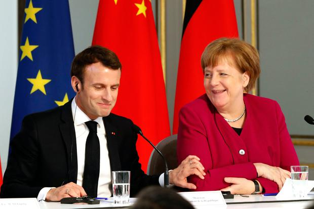 Meetings: French President Emmanuel Macron and German Chancellor Angela Merkel. Photo: AP