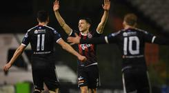 Keith Buckley of Bohemians, centre, celebrates after scoring his side's first goal during the SSE Airtricity League Premier Division match between Bohemians and St Patrick's Athletic at Dalymount Park in Dublin. Photo by Seb Daly/Sportsfile