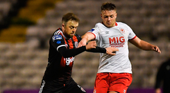 Bohemians' Keith Ward in action against Conor Clifford of St Patrick's Athletic. Photo: Sportsfile
