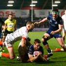 Connacht's Kyle Godwin scoring a try against Sale Sharks. Photo: Philip Oldham/Sportsfile
