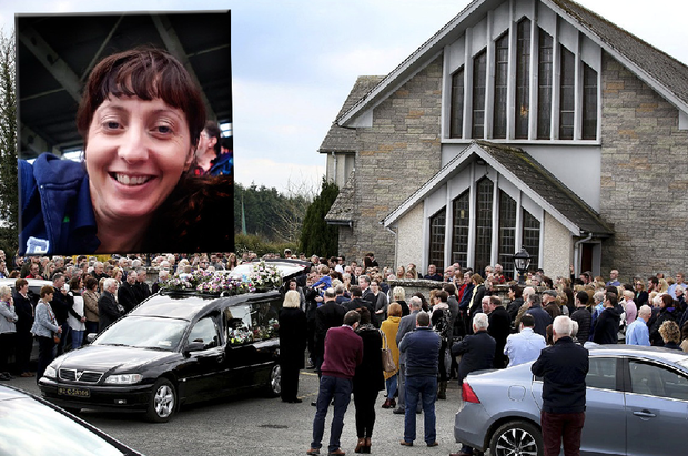 Mourners at the funeral of Marie Downey (inset) and her baby son Darragh at St. Michaels Church in Ballyagran, Co Limerick Pic Steve Humphreys