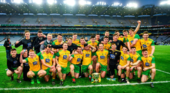 The Donegal players with the cup after the Allianz Football League Division 2 Final match between Meath and Donegal at Croke Park in Dublin. Photo by Ray McManus/Sportsfile