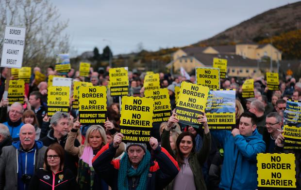 Border Communities Against Brexit holding protests on Old Belfast Road in Carrickcarnon on the northern side of the Irish border, between Newry and Dundalk Photo credit: Niall Carson/PA Wire