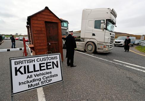 A mock customs post is put up by Border Communities Against Brexit protesters on Old Belfast Road in Carrickcarnon Photo credit: Niall Carson/PA Wire