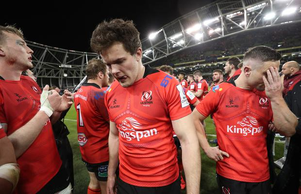 Heineken Champions Cup Quarter-Final, Aviva Stadium, Dublin 30/3/2019 Ulster's Jacob Stockdale dejected after the game Mandatory Credit ©INPHO/Billy Stickland