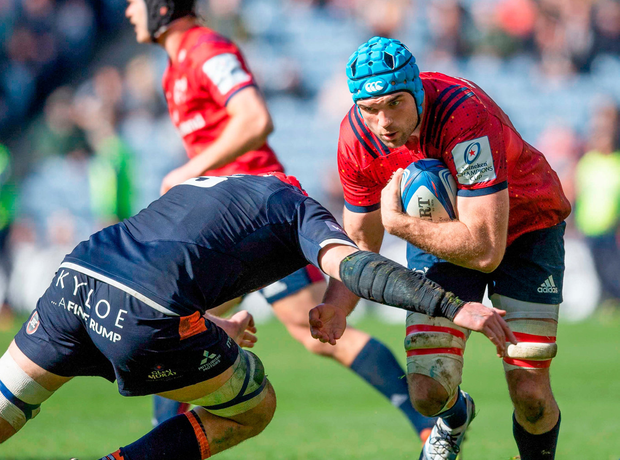 Munster's Tadhg Beirne is tackled by Grant Gilchrist of Edinburgh during the quarter-final. Photo: Paul Devlin/Sportsfile