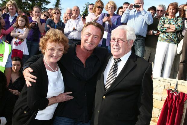 FAMOUS SON: Michael Flatley with his late mother and father. Picture: James Connolly