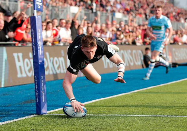 Saracens' David Strettle scores a try during the European Champions Cup quarter final against Glasgow. Photo: Adam Davy/PA
