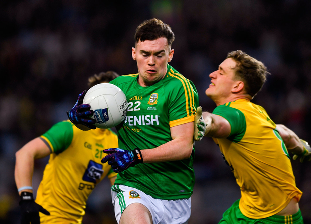Meath's Darragh Campion in action against Donegal's Eoghan Bán Gallagher during yesterday's Division 2 final at Croke Park. Photo: Ray McManus/Sportsfile