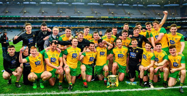 The Donegal players with the cup after the Allianz Football League Division 2 Final match against Meath. Photo: Ray McManus/Sportsfile