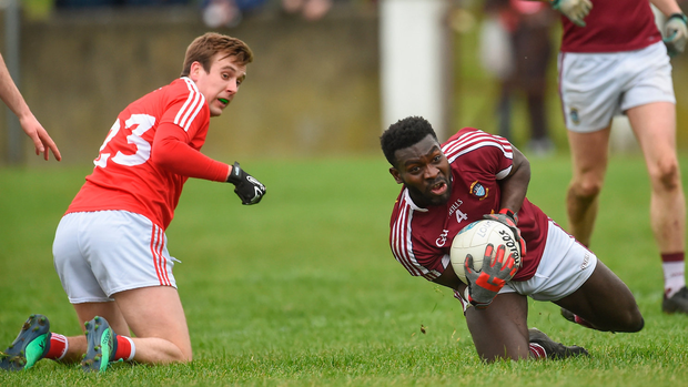 Westmeath's Boidu Sayeh in action against Eoghan Duffy of Louth. Photo: Oliver McVeigh/Sportsfile