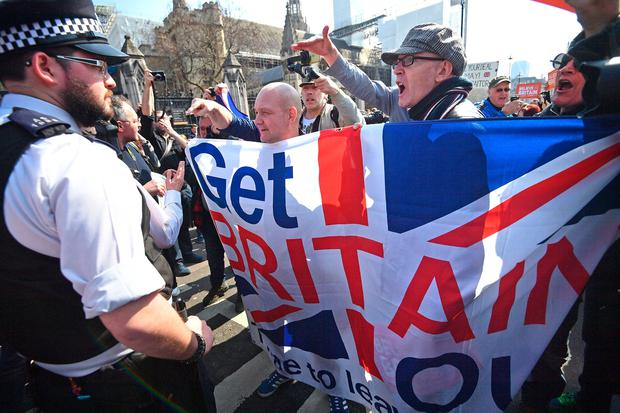 MARCH: Pro-Brexit protesters outside Westminster last week. Picture: PA