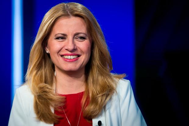 First: Newly elected president of Slovakia Zuzana Caputova gets ready for a television debate in Bratislava. Photo: Getty Images