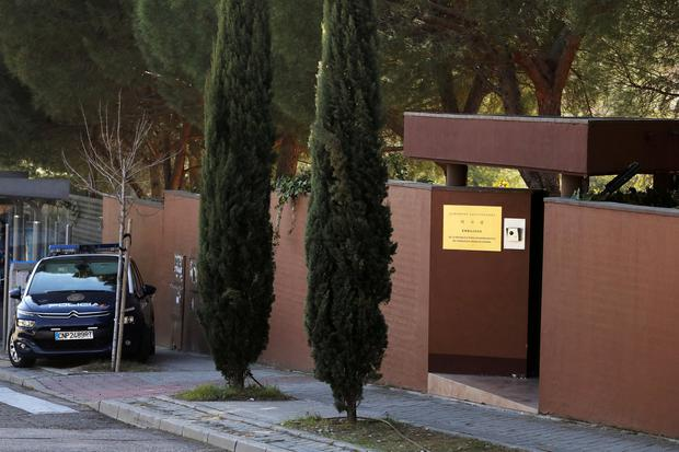 A Spanish National Police car is seen outside the North Korea's embassy in Madrid. Photo: Reuters