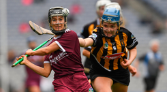 Claire Phelan of Kilkenny tries to hook Galway's Aoife Donohue at Croke Park. Photo by Ray McManus/Sportsfile