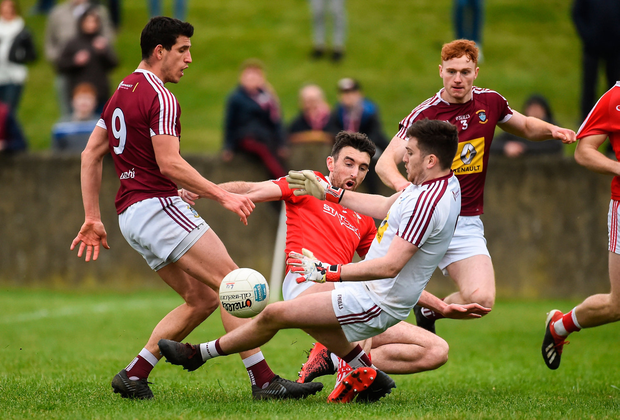 James Califf of Louth has his shot saved by Eoin Carberry of Westmeath. Photo by Oliver McVeigh/Sportsfile
