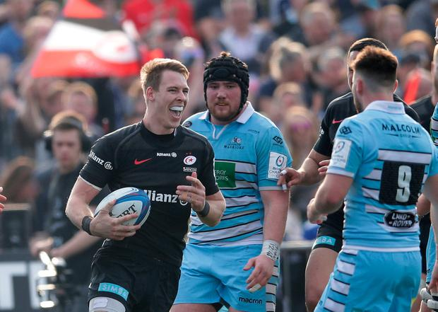 Saracens' Liam Williams celebrates scoring a try at Allianz Park. Photo: Adam Davy/PA Wire