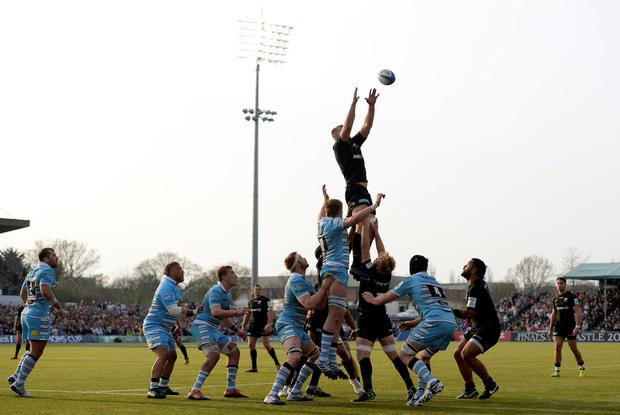George Kruis wins a lineout for Saracens. Photo: Action Images via Reuters/Adam Holt