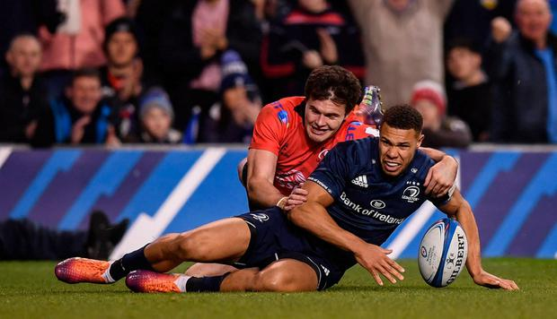 Adam Byrne scores Leinster's second try. Photo: Stephen McCarthy/Sportsfile